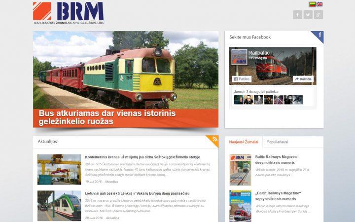 Tinklapio skirto geležinkelių transportui dizainas
